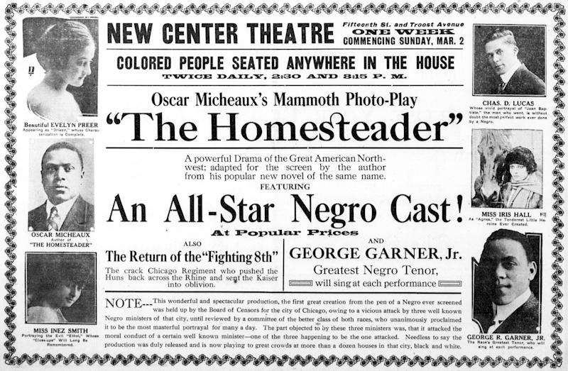 A period newspaper ad for <i>The Homesteader</i>.