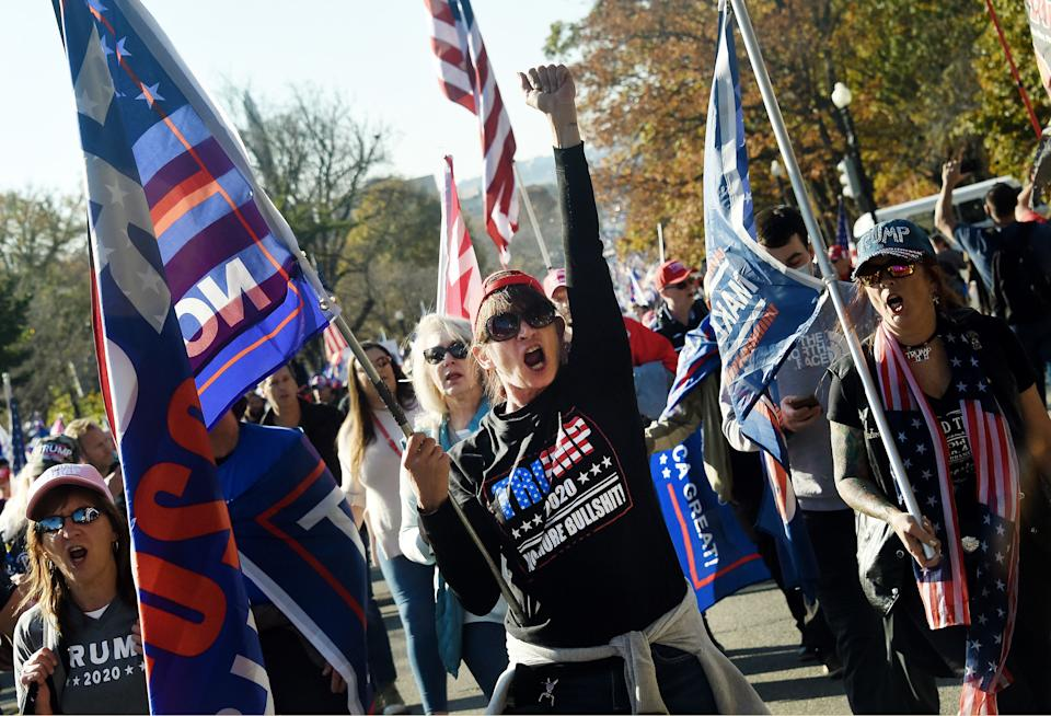 Supporters of US President Donald Trump rally in Washington, DC, on Saturday. Source: Getty
