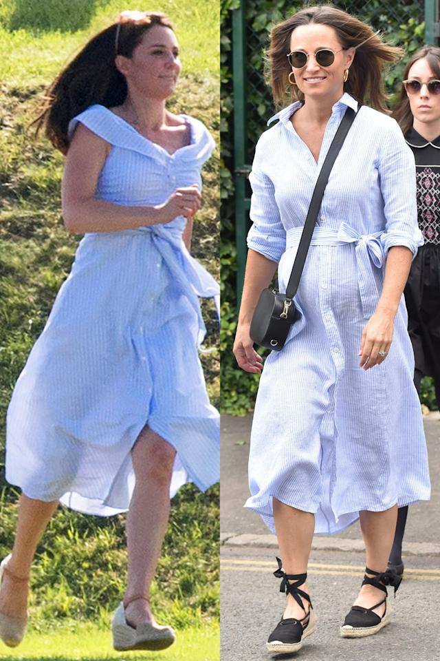 "<p>Kate Middleton went with a sleeveless, <a rel=""nofollow"" href=""https://www.marieclaire.com/fashion/a21266942/kate-middleton-blue-zara-dress-maserati-royal-charity-polo-trophy/"">blue striped Zara dress</a> while at a charity polo match in June 2018. She ran around with her kids in Russell & Bromley espadrille sandals. A month later, Pippa Middleton debuted her own version of the blue striped dress when she attended Wimbledon. Kate's little sis wore a three-quarter sleeve shirtdress with built-in belt that highlighted her baby bump and...espadrilles.</p>"
