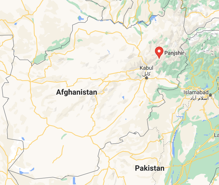 Afghanistan map detail showing location of Panjshir Province