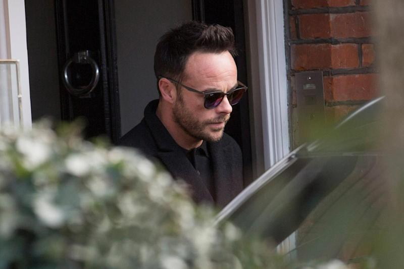 TV host Ant McPartlin emerges from his west London home on Wednesday (Jeremy Selwyn)
