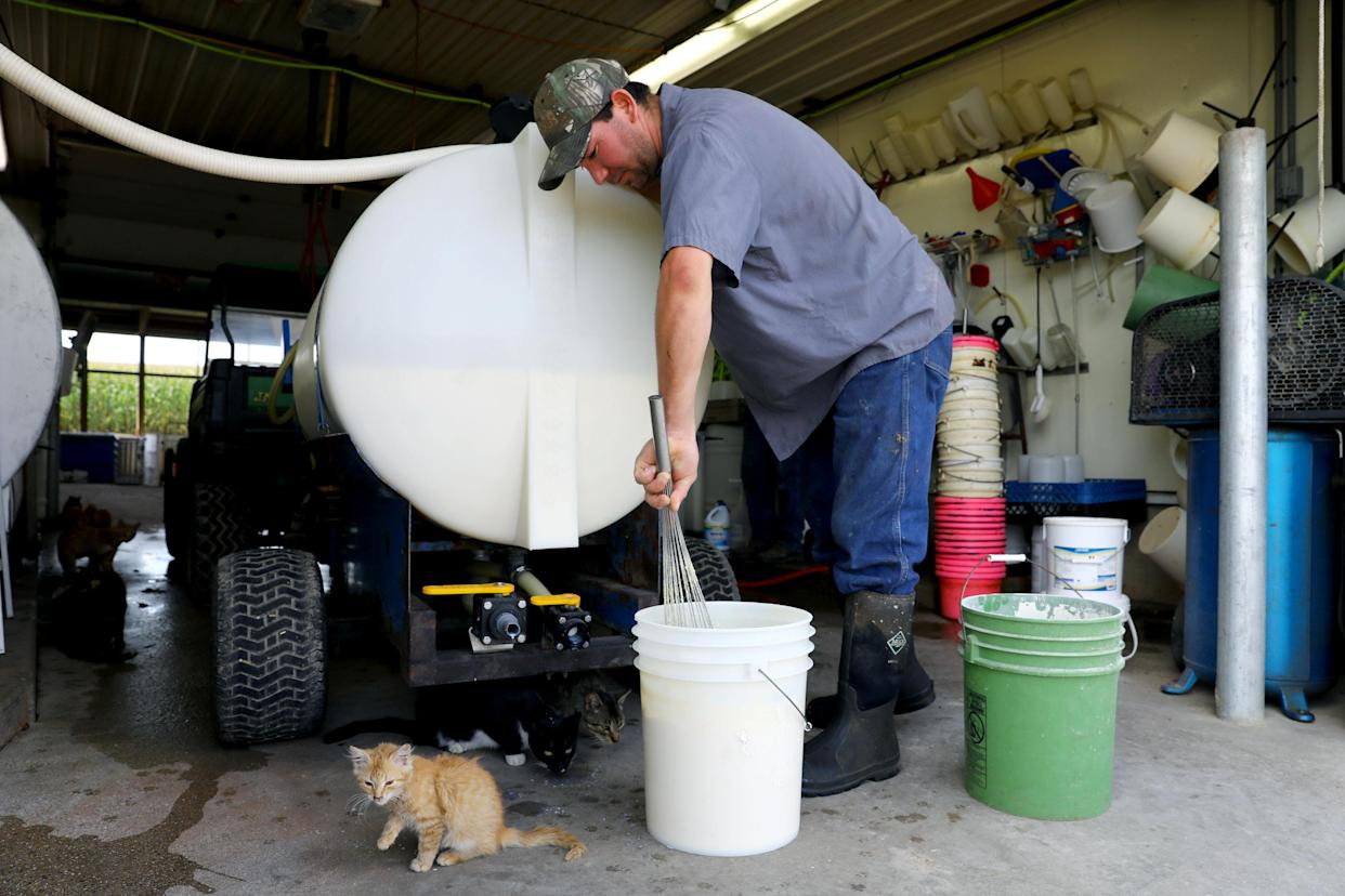 """Sergio Rivera cares for the calves at Ripp's Dairy Valley farm. Rivera is from Mexico and has been working at the farm since 2003. Hiswife and daughter live with him on the farm. """"Here there is more opportunities for work,""""he said. """"In Mexico, nada."""""""