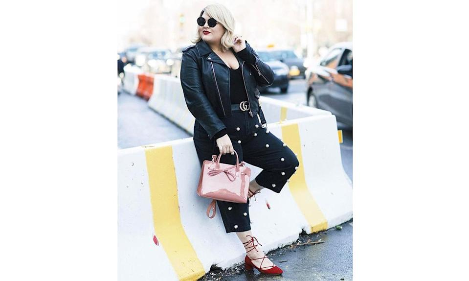 """<p>Embellished jeans are popping up everywhere on the street-style scene — and <a href=""""https://www.instagram.com/p/BRTYAZRASHQ/?taken-by=nicolettemason"""" rel=""""nofollow noopener"""" target=""""_blank"""" data-ylk=""""slk:@nicolettemason"""" class=""""link rapid-noclick-resp"""">@nicolettemason</a> shows that this easily DIY'd trend looks great with a cropped motorcycle jacket and mules for running around. </p>"""