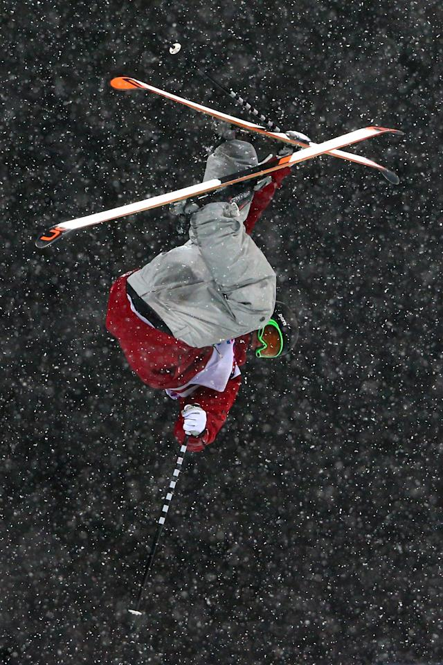 SOCHI, RUSSIA - FEBRUARY 18: Noah Bowman of Canada competes in the Freestyle Skiing Men's Ski Halfpipe Finals on day eleven of the 2014 2014 Winter Olympics at Rosa Khutor Extreme Park on February 18, 2014 in Sochi, Russia. (Photo by Cameron Spencer/Getty Images)