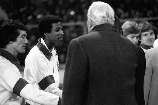 Viv Anderson, second left, made his England debut in November 1978
