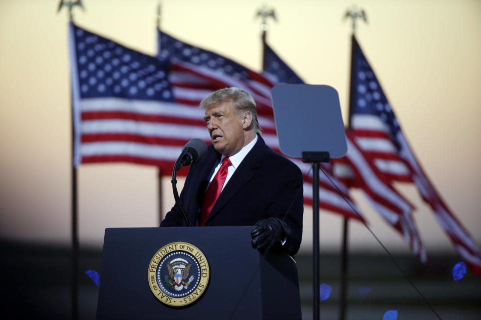 President Donald Trump speaks at a campaign rally Friday, Oct. 30, 2020, in Rochester, Minn. (AP Photo/Bruce Kluckhohn)