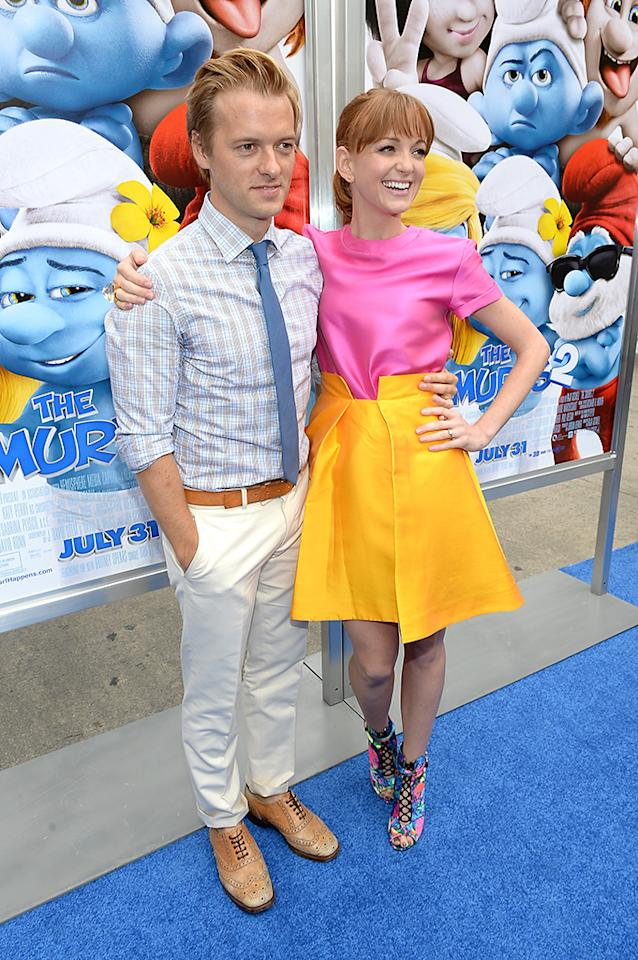 "WESTWOOD, CA - JULY 28:  Actors Jayma Mays (R) and Adam Campbell attend the Los Angeles premiere of ""The Smurfs 2"" at Regency Village Theatre on July 28, 2013 in Westwood, California.  (Photo by Michael Buckner/Getty Images for SONY)"