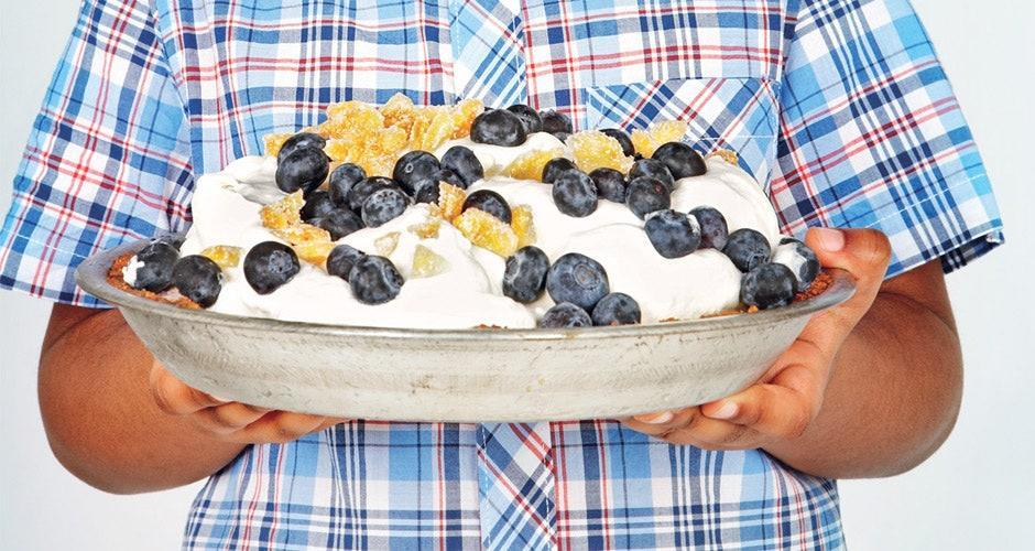 """Who can say no to ice cream pie? Ground gingersnap cookies offer a zingy backdrop to sweet fresh blueberries and peach ice cream, all dressed with piquant crystallized ginger. <a href=""""https://www.bonappetit.com/recipe/peach-blueberry-ice-cream-pie?mbid=synd_yahoo_rss"""" rel=""""nofollow noopener"""" target=""""_blank"""" data-ylk=""""slk:See recipe."""" class=""""link rapid-noclick-resp"""">See recipe.</a>"""