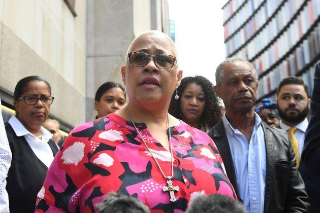 Mina Smallman, the mother of Bibaa Henry and Nichole Smallman outside the Old Bailey, in London on Tuesday July 6, 2021. (Photo: via Associated Press)
