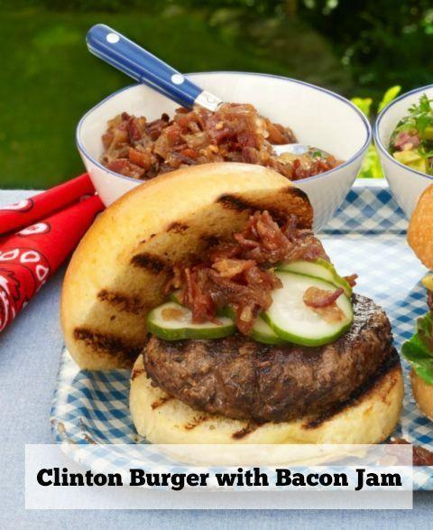 """<p>Get a double dose of bacon in this burger recipe with a topping and sauce encrusted in the patty.</p><p><em><strong><a href=""""https://www.womansday.com/food-recipes/food-drinks/recipes/a50979/clinton-burger-bacon-jam/"""" rel=""""nofollow noopener"""" target=""""_blank"""" data-ylk=""""slk:Get the Burger with Bacon Jam recipe."""" class=""""link rapid-noclick-resp"""">Get the Burger with Bacon Jam recipe.</a></strong></em></p>"""