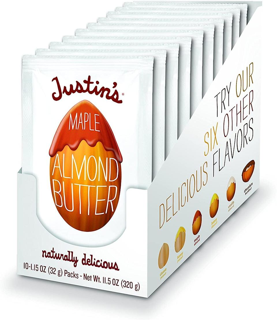 <p>On the go? Stash these <span>Justin's Maple Almond Butter Squeeze Packs</span> ($12) in your bag so you can have a quick, healthy snack wherever your day takes you.</p>