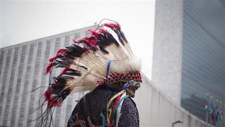 A man from the Dakota Nation tribe is photographed outside the United Nations headquarters