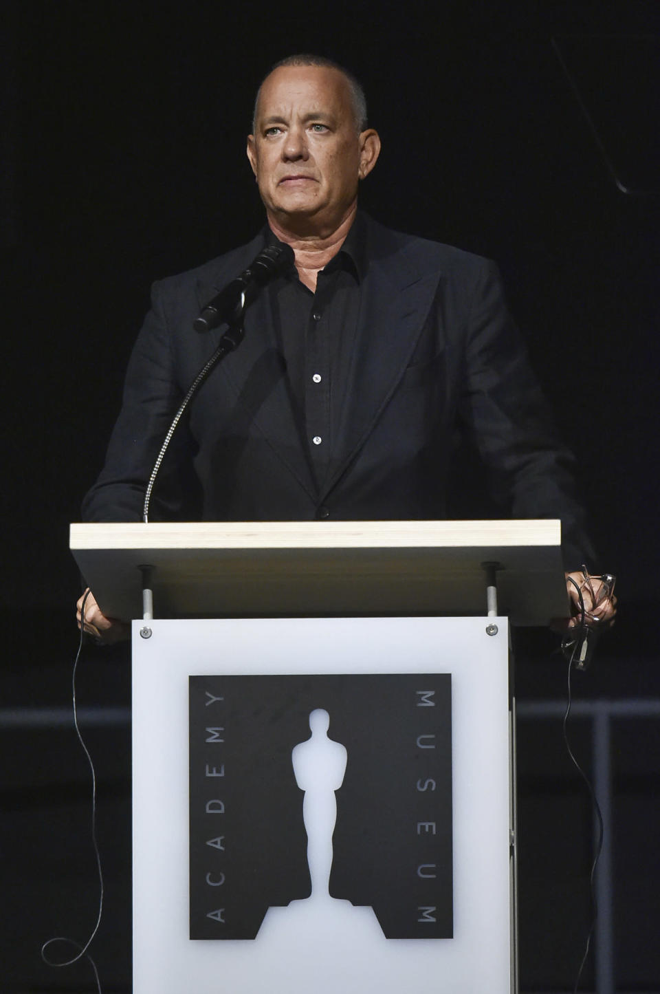 Tom Hanks speaks at a press conference for the opening of the Academy Museum on Tuesday, Sept. 21, 2021, in Los Angeles. (Photo by Richard Shotwell/Invision/AP)