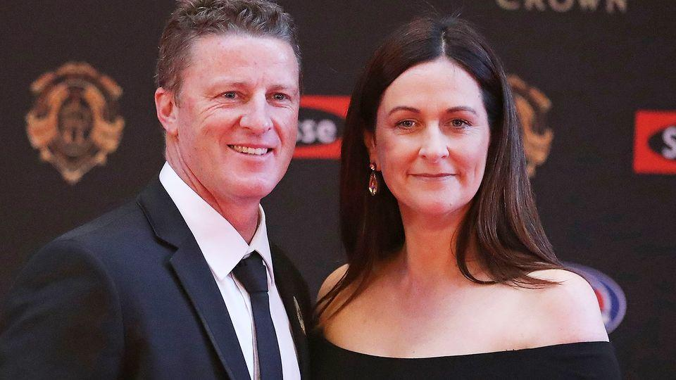 Damien Hardwick with wife Danielle at the 2017 Brownlow Medal. (Photo by Scott Barbour/Getty Images)