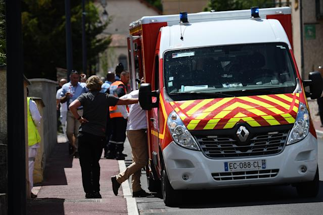 An ambulance arrives at the scene of Froome's crash last week. (Credit: Getty Images)
