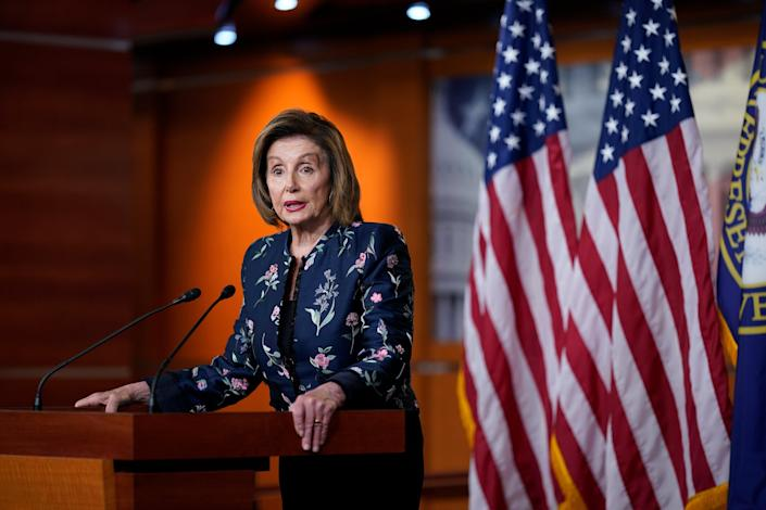 Speaker Nancy Pelosi at a press conference in the Capitol. (Copyright 2021 The Associated Press. All rights reserved)