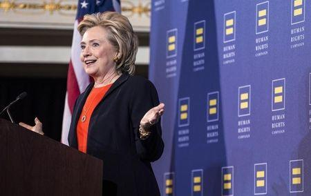 Democratic presidential candidate Hillary Clinton speaks to supporters at the Human Rights Campaign Breakfast in Washington, October 3, 2015. REUTERS/Joshua Roberts