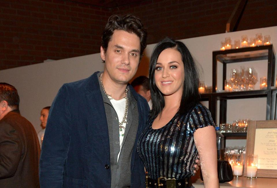 """<p>Before her on-off relationship with Orlando Bloom, Perry was in a similar one with Mayer. They <a href=""""https://www.eonline.com/news/514908/katy-perry-and-john-mayer-inside-their-relationship-ups-and-downs"""" rel=""""nofollow noopener"""" target=""""_blank"""" data-ylk=""""slk:got together"""" class=""""link rapid-noclick-resp"""">got together </a>in August 2012 and <a href=""""https://www.eonline.com/news/354004/katy-perry-and-john-mayer-still-on-share-dinner-date-night-in-nyc"""" rel=""""nofollow noopener"""" target=""""_blank"""" data-ylk=""""slk:stayed together"""" class=""""link rapid-noclick-resp"""">stayed together </a>despite rumors otherwise. They broke up in March 2013, got <a href=""""https://www.eonline.com/news/425251/katy-perry-and-john-mayer-are-back-on-get-the-details"""" rel=""""nofollow noopener"""" target=""""_blank"""" data-ylk=""""slk:back together"""" class=""""link rapid-noclick-resp"""">back together </a>in June 2013, and broke up in February 2014, despite <a href=""""https://www.nydailynews.com/entertainment/gossip/katy-perry-fuels-engagement-rumors-rocks-huge-ring-article-1.1619454"""" rel=""""nofollow noopener"""" target=""""_blank"""" data-ylk=""""slk:engagement rumors"""" class=""""link rapid-noclick-resp"""">engagement rumors</a>. </p>"""