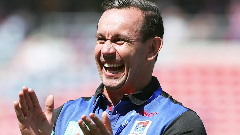 Matthew Johns, pictured here at a Newcastle Knights game in 2017.