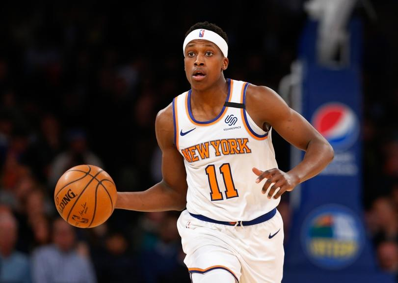 Frank Ntilikina pushes ball up floor against Pacers