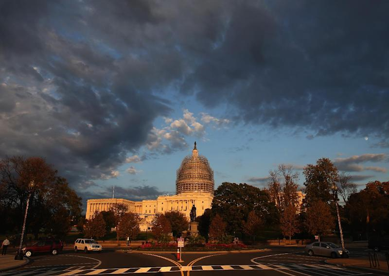 View of the U.S. Capitol where the Democrats currently hold a 55-45 seat advantage in the US Senate, while Republicans control the House of Representatives (AFP Photo/Mark Wilson)