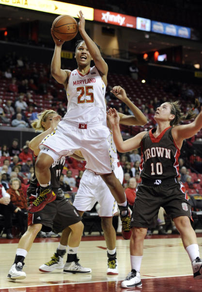 FILE - In this Dec. 28, 2012 file photo, Maryland's Alyssa Thomas shoots as Brown's Lauren Clarke attempts to defend during the first half of an NCAA college basketball game, in College Park, Md. The Terrapins have been the closest challenger to Duke in recent years, winning the 2009 and 2012 tournament titles. Now they're preparing for their final run through the league before heading to the Big Ten. It's also the final year for ACC player of the year Alyssa Thomas, who led the league in scoring (18.8), rebounding (10.3) and assists (5.3). (AP Photo/Gail Burton, File)