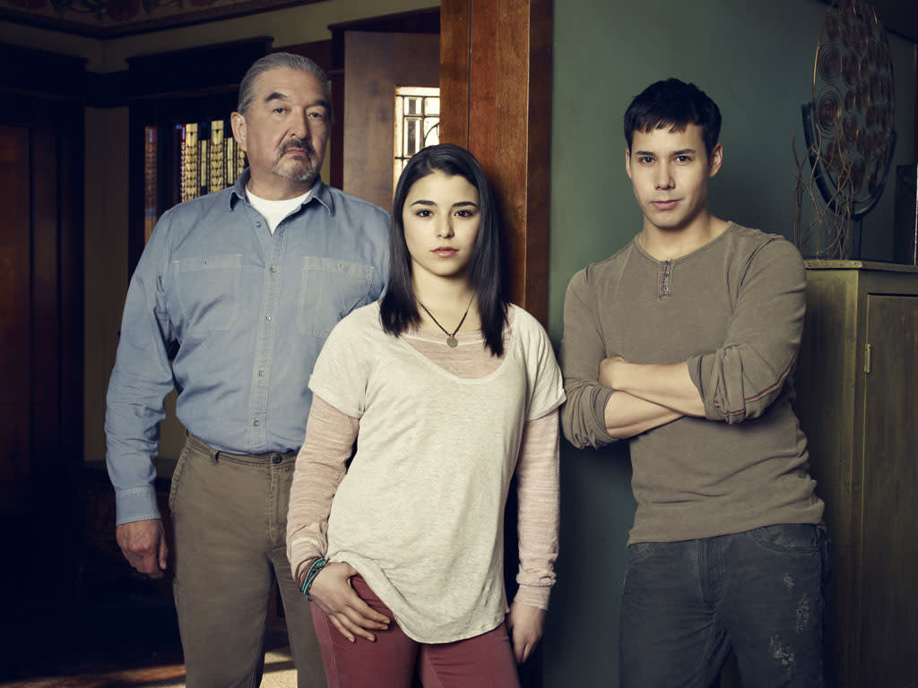 "Graham Greene as Rafe McCawley, Nicole Munoz as Christie McCawley and Justin Rain as Quentin McCawley on Syfy's ""Defiance."""