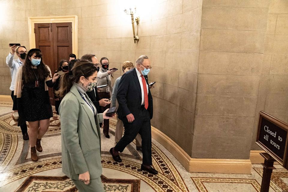 Senate Minority Leader Sen. Chuck Schumer (D-N.Y.) departs a meeting at the Capitol in Washington late Tuesday, Dec. 15, 2020, with the top congressional leaders to discuss the omnibus package and COVID-19 relief. (Anna Moneymaker/The New York Times)