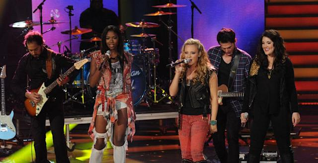 "Amber Holcomb, Janelle Arthur and Kree Harrison perform Billy Joel's ""It's Still Rock and Roll to Me"" on the Wednesday, April 3 episode of ""American Idol."""