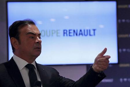 FILE PHOTO: Carlos Ghosn, Chairman and CEO of Renault, speaks during the French carmaker Renault's 2017 annual results presentation in Boulogne-Billancourt
