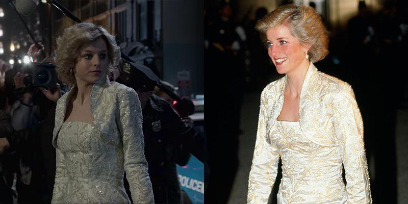 <p>In 1988, Princess Diana stunned in a white and gold brocade ballgown and matching bolero jacket. The evening gown, originally designed by Victor Edelstein, appeared at the end of Season 4 of <em>The Crown</em>. </p>