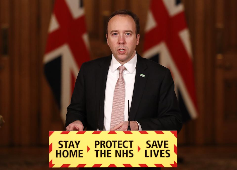 Health Secretary Matt Hancock during a media briefing in Downing Street, London, on coronavirus (COVID-19).
