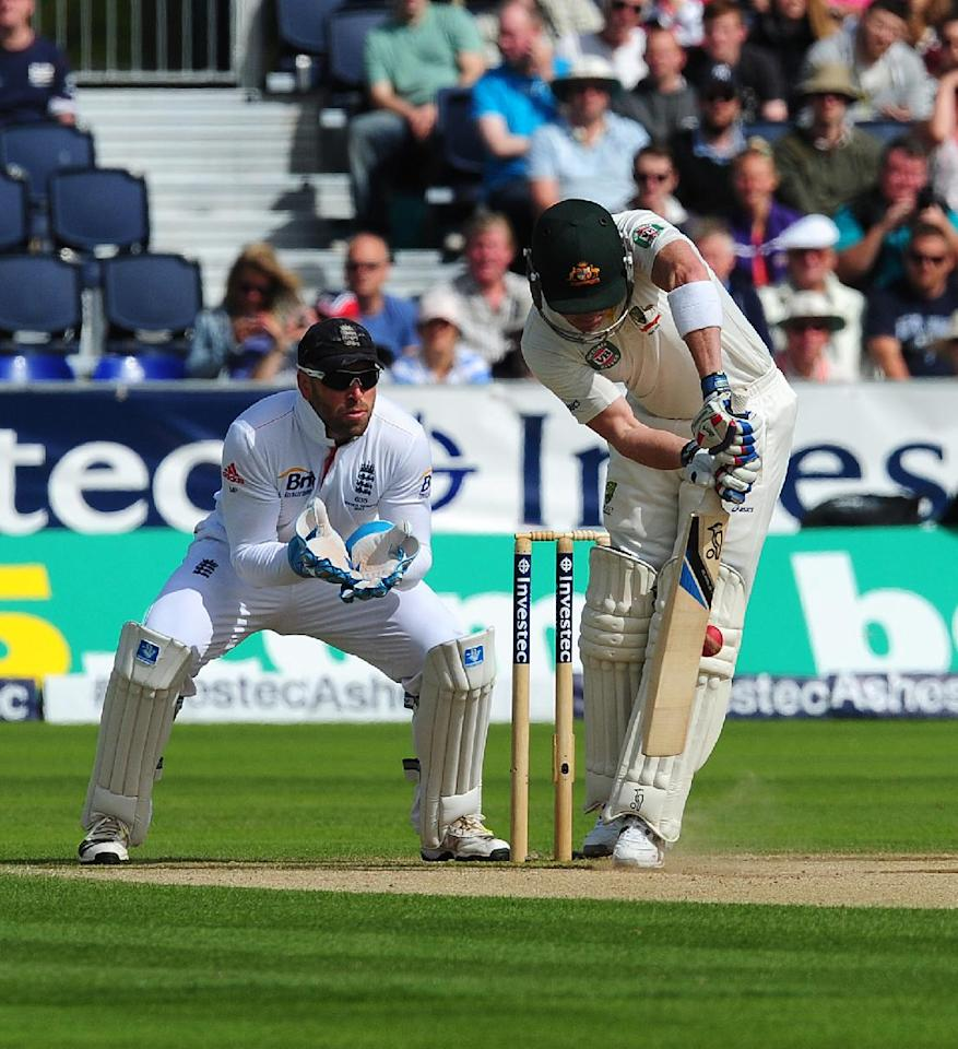 Australia's Brad Haddin is out lbw from the bowling of England's Graeme Swann during day three of the Fourth Investec Ashes test match at the Emirates Durham ICG, Durham.