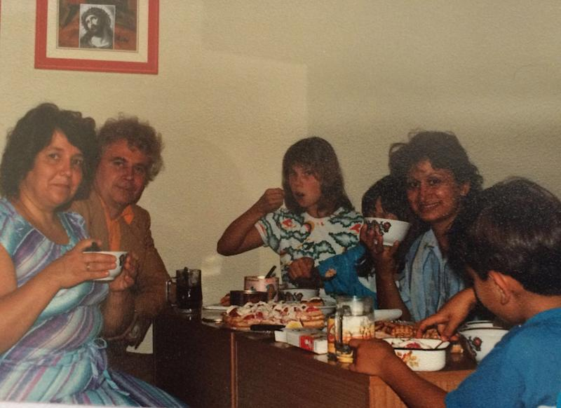 Dina's mother with Russians in an Italian refugee camp in 1989. | Courtesy of Dina Nayeri