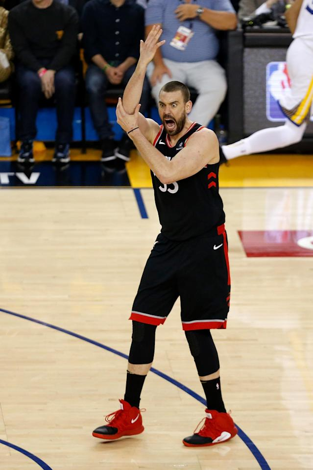 Marc Gasol #33 of the Toronto Raptors reacts against the Golden State Warriors in the first half during Game Three of the 2019 NBA Finals at ORACLE Arena on June 05, 2019 in Oakland, California. (Photo by Lachlan Cunningham/Getty Images)