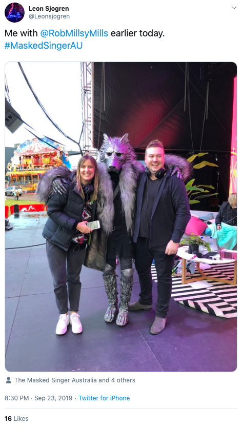 Tweet from Leons Jogren identifying Rob Mills as The Masked Singer's The Wolf
