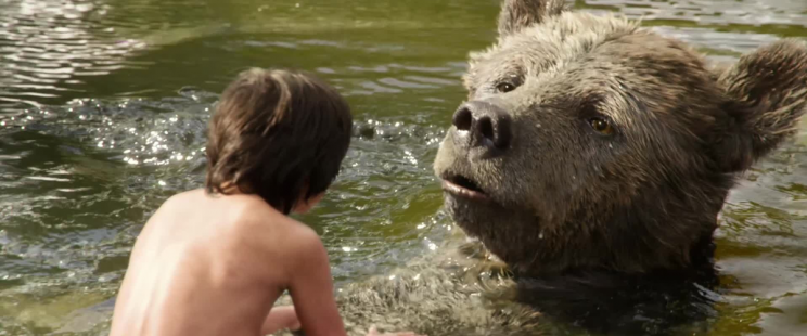 Baloo (Bill Murray) and Mowgli (Neel Sethi) in 'The Jungle Book'. (Credit: Disney)