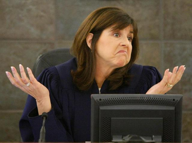 "<p>Clark County District Court Judge Jackie Glass gestures during O.J. Simpson's bail revocation hearing in Las Vegas, Nev., on Jan. 16, 2008. On Friday Dec. 5, 2008, Glass will sentence Simpson and co-defendant Clarence ""C.J."" Stewart on 12 criminal charges that arose from a hotel-room confrontation with two sports-memorabilia dealers who were peddling items from Simpson's glory days. (Photo: Rick Wilking, Pool/AP) </p>"