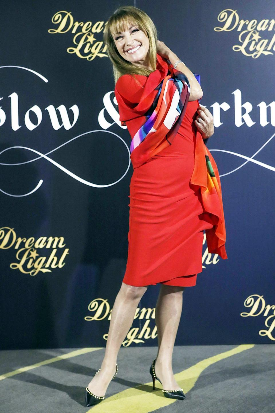 <p>Jane Seymour strikes a pose at the<i> Glow and Darkness</i> photo call in Madrid on Monday. </p>