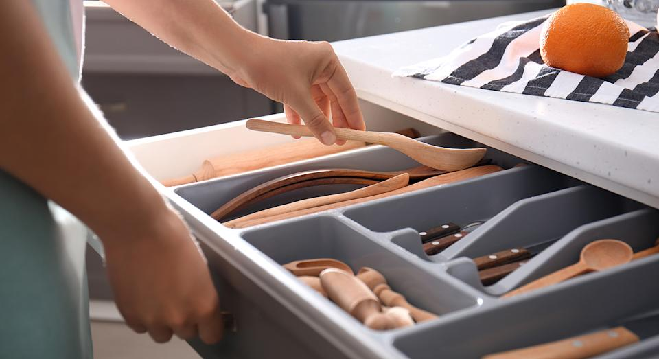 A cutlery organiser is the kitchen item we never knew we needed, and this Joseph Joseph design has glowing reviews. (Getty Images)