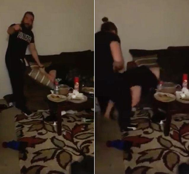 A video appearing to show a man identified as American fighter Tony Cojocaru callously beat a juvenile until he cowers on the ground. Photo: Facebook/Kevin D Wise