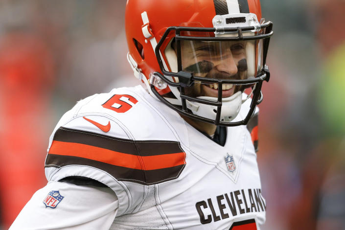 """You can now wear Cleveland Browns quarterback <a class=""""link rapid-noclick-resp"""" href=""""/nfl/players/30971/"""" data-ylk=""""slk:Baker Mayfield"""">Baker Mayfield</a>'s face on your socks. (AP Photo/Gary Landers)"""