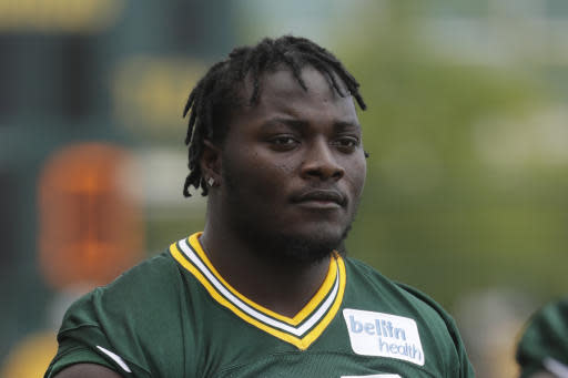 FILE - In this July 26, 2018, file photo, Green Bay Packers' Montravius Adams is seen during NFL football training camp in Green Bay, Wis. Packers defensive lineman Montravius Adams was arrested in Georgia this week and charged with marijuana and driving offenses. He was stopped Tuesday, May 18, 2020, just after 6 p.m. on suspicion of driving with suspended registration and no insurance, according to a Houston County Sheriffs Office report. (AP Photo/Morry Gash, File)