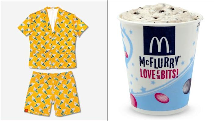 Left: A yellow set of pajamas patterned with McDonald's McFlurries; Right: Product shot of the McFlurry