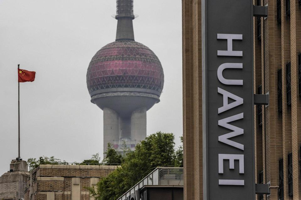 A Huawei logo outside the company's flagship store building in Shanghai, China, on 16 July 2020. Photo: EPA-EFE