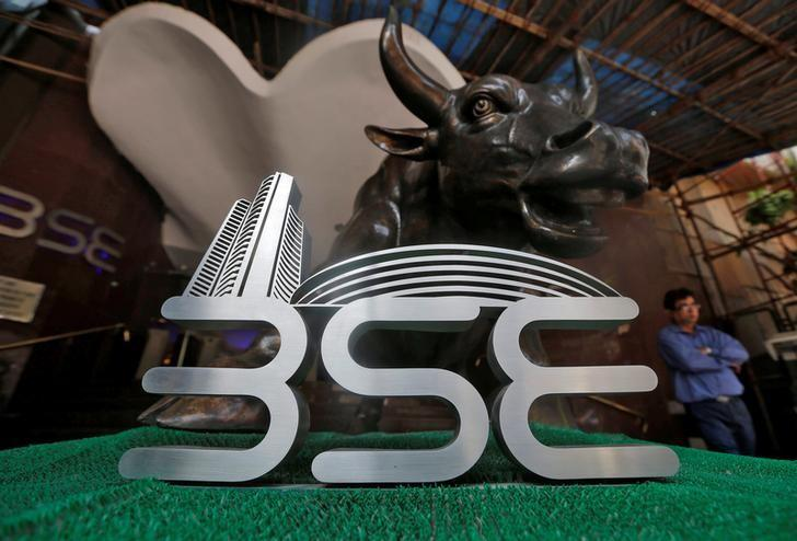 The Bombay Stock Exchange (BSE) logo is seen at the BSE building in Mumbai