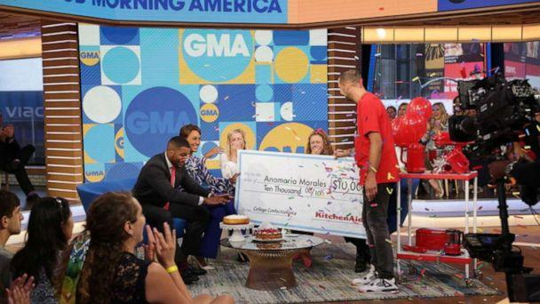 PHOTO: Anamarie Morales is surprised with $10,000 from KitchenAid on 'Good Morning America.' (ABC)