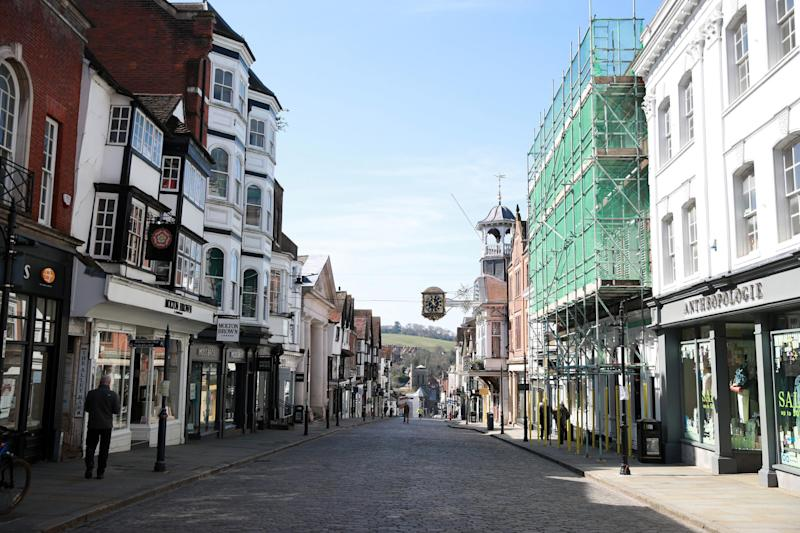 An empty high-street in Guildford the day after Prime Minister Boris Johnson put the UK in lockdown to help curb the spread of the coronavirus: PA