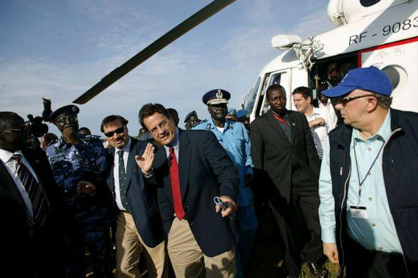 PHOTO: David Gressley, center in red tie, the southern head of the United Nations Mission in Sudan arrives at a police training academy in Rajaf, southern Sudan, Oct. 7, 2010. (Pete Muller/AP)