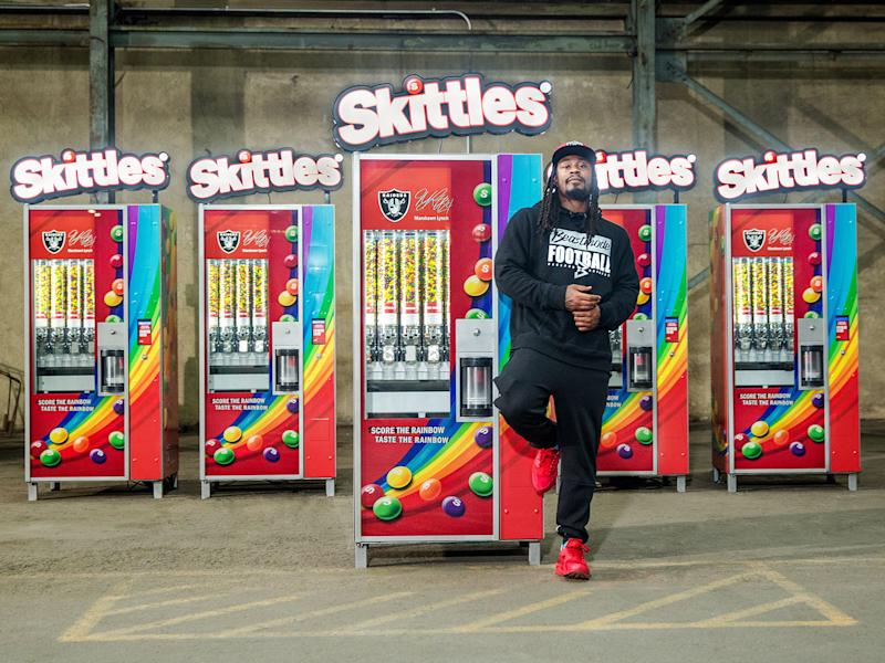 29fe4b758d64 Marshawn Lynch Is Giving Out Free Skittles in Oakland  Video